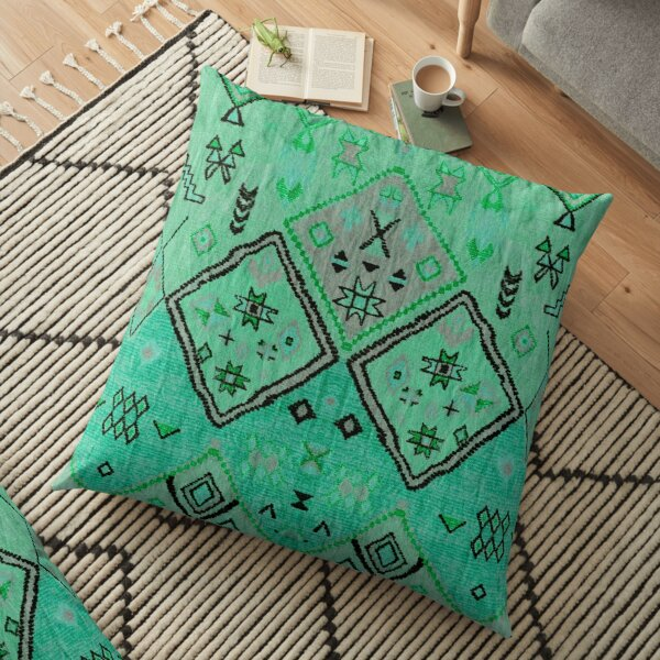 Green Oriental Boho Traditional Moroccan Style Floor Pillow