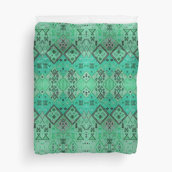 Green Oriental Boho Traditional Moroccan Style Duvet Cover