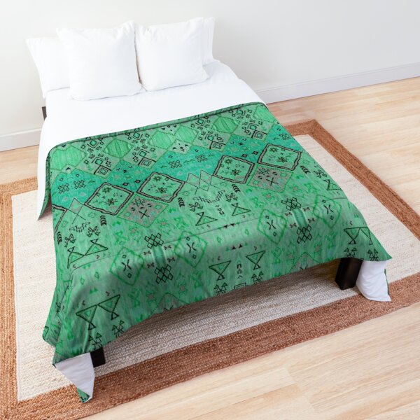 Green Oriental Boho Traditional Moroccan Style Comforter