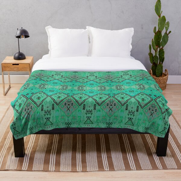 Green Oriental Boho Traditional Moroccan Style Throw Blanket