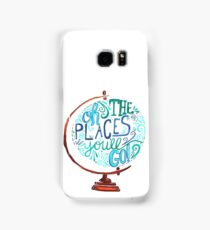 Oh The Places You'll Go - Vintage Typography Globe Samsung Galaxy Case/Skin