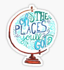 Pegatina Oh los lugares a los que irás - Vintage Typography Globe