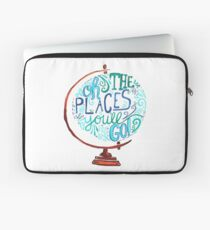 Oh The Places You'll Go - Vintage Typography Globe Laptop Sleeve