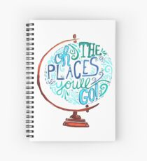 Oh The Places You'll Go - Vintage Typography Globe Spiral Notebook