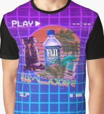 Vaporwave Fiji Bottle Graphic T-Shirt