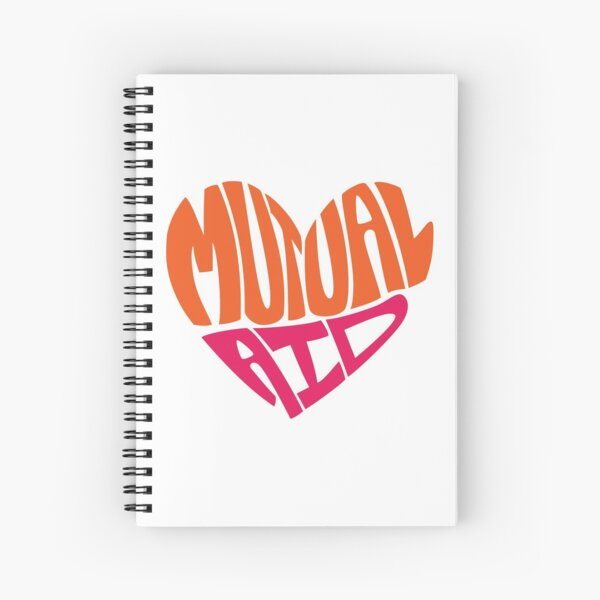 Mutual Aid Heart - Orange & Pink Spiral Notebook