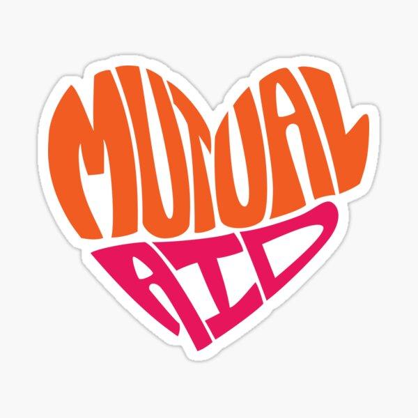 Mutual Aid Heart - Orange & Pink Sticker