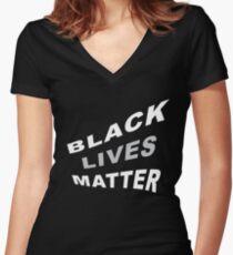 #BlackLivesMatter Curvy 70's-esque Graphic Statement  Women's Fitted V-Neck T-Shirt