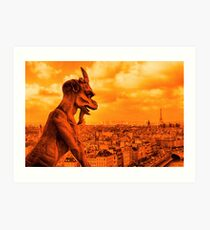 Guardians of Paris - A Gargoyle on the Skyline Art Print