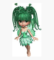 Cute Fairy Girl with Green Eyes, Hair, Dress, Wings, Heart Photographic Print