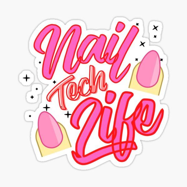 Pink Sparkle Nail Tech Life Sticker