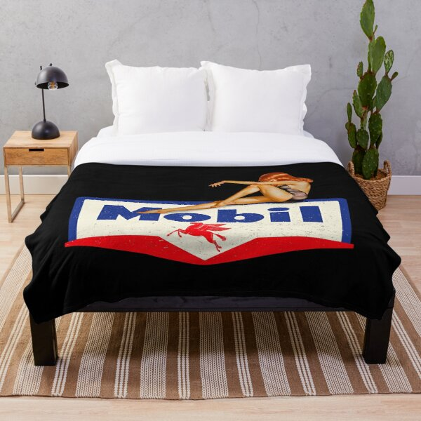 Mobil pin up vintage sign Throw Blanket