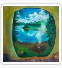 Camping oil painting Sticker