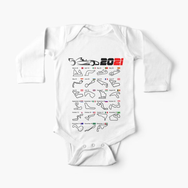 Calendario coches de carreras de Fórmula 2021 circuitos blanco Body de manga larga para bebé