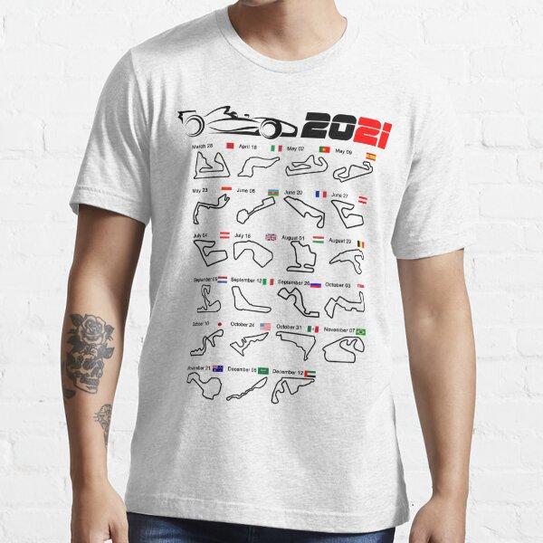 Kalender Formel Rennwagen 2021 Rennstrecken weiß Essential T-Shirt