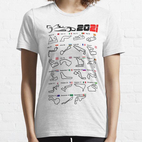 Calendar Formula race cars 2021 circuits white Essential T-Shirt