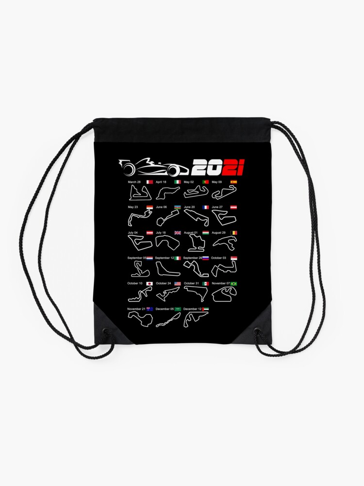 Alternate view of Calendar Formula race cars 2021 circuits Drawstring Bag