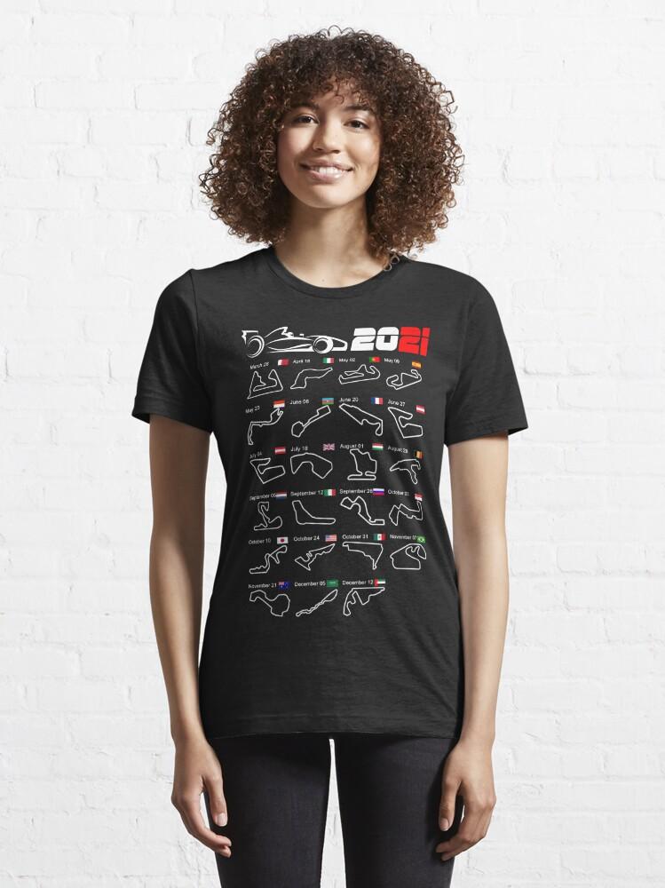 Alternate view of Calendar Formula race cars 2021 circuits Essential T-Shirt