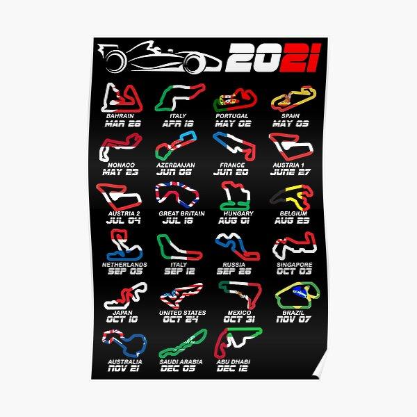 Kalender Formel Rennwagen 2021 Rennstrecken Farben Poster