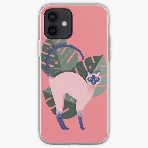 Grumpy Siamese Cat with Monstera Leafs Pink iPhone Soft Case