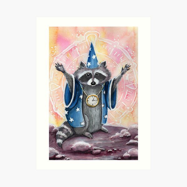 Time Wizard Raccoon Art Print