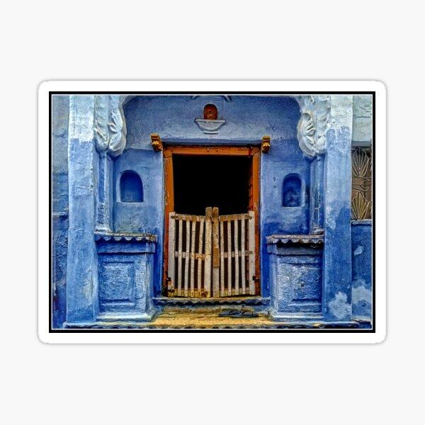 Blue Doorway in Bundi Sticker