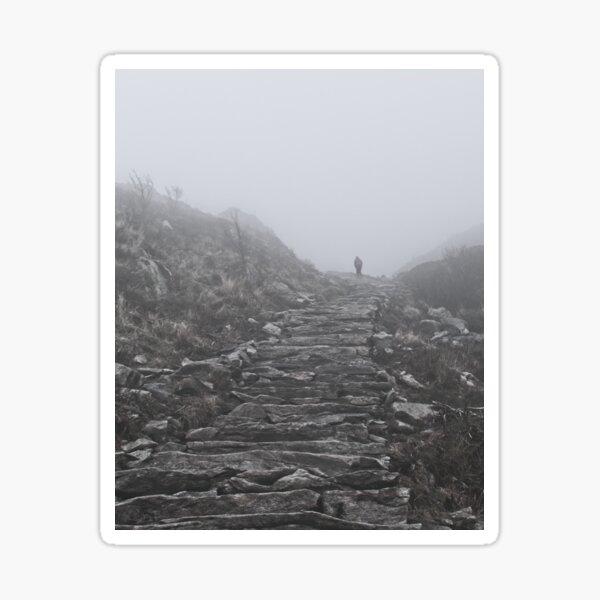 Ascending the foggy mountain Ulriken in Norway, Bergen Sticker