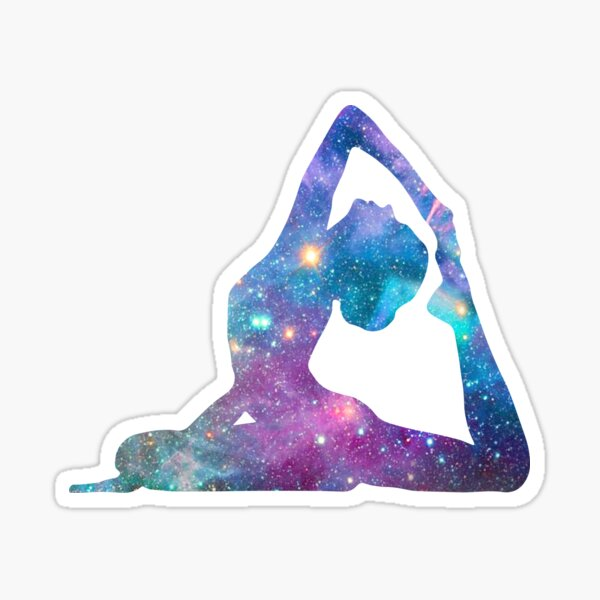 Cosmic Yoga Asana 2 - Galaxy King Pigeon Pose  Sticker