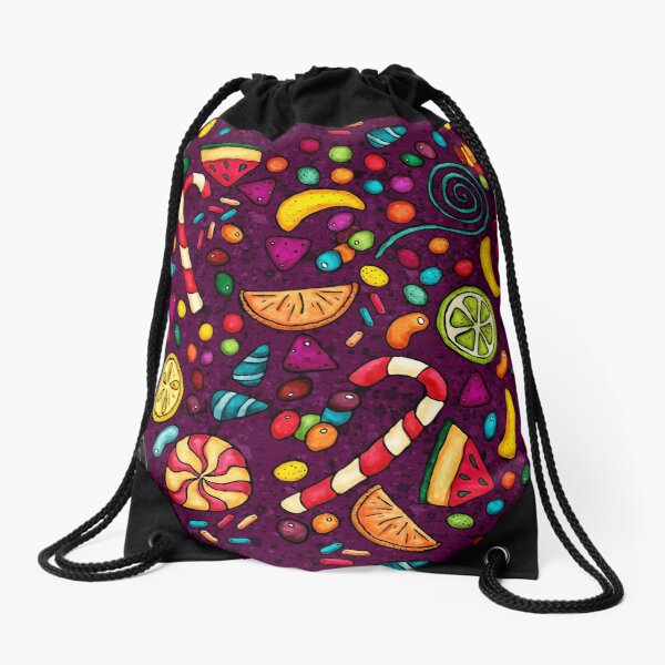 Multicolored candies on a purple background Drawstring Bag