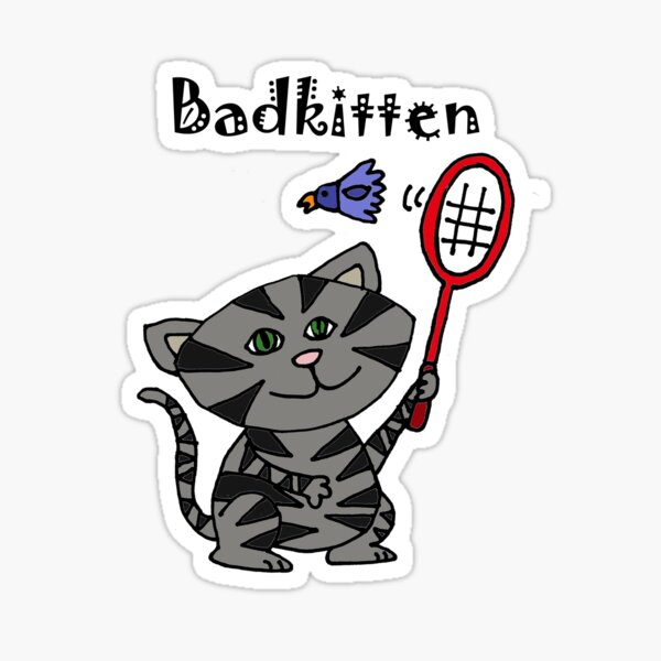 Cool Fun Grey Kitten Playing Badminton Sticker