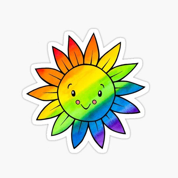 Rainbow Sunflower - Pembina Valley Pride (by Sarah Neville) Sticker