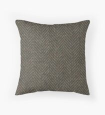 Herringbone Wool Tweed Fabric Throw Pillow