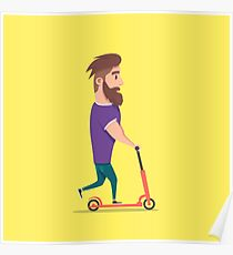 Young man racing a scooter Poster