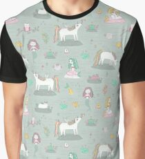 Unicorns and mermaids on the pond Graphic T-Shirt