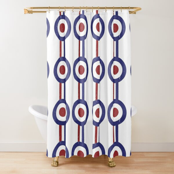 Country Emblem Painting on Weathered Retro Wooden Looking Print Shower Curtain