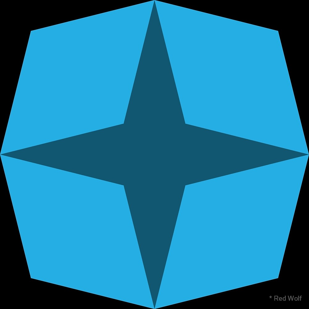 Geometric Pattern: Diamond Star: Dark Blue by * Red Wolf