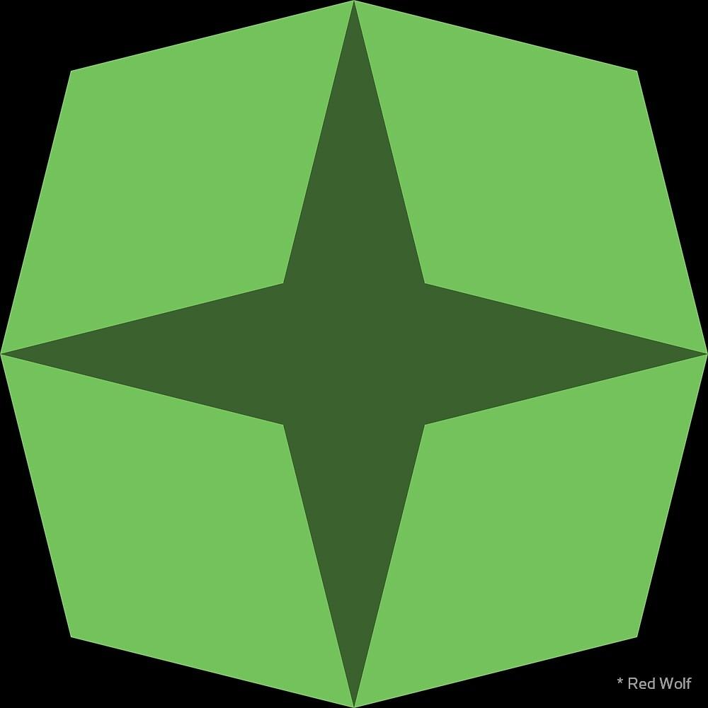 Geometric Pattern: Diamond Star: Dark Green by * Red Wolf