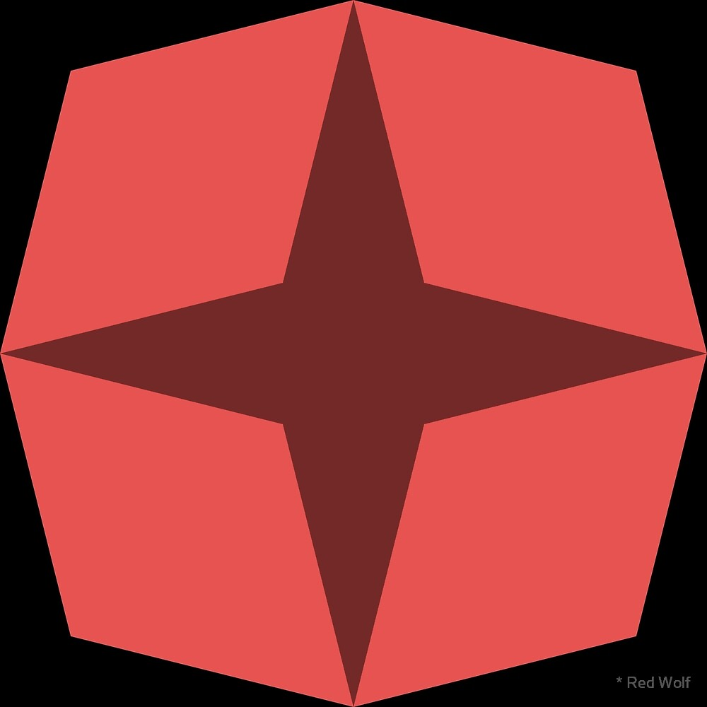 Geometric Pattern: Diamond Star: Dark Red by * Red Wolf