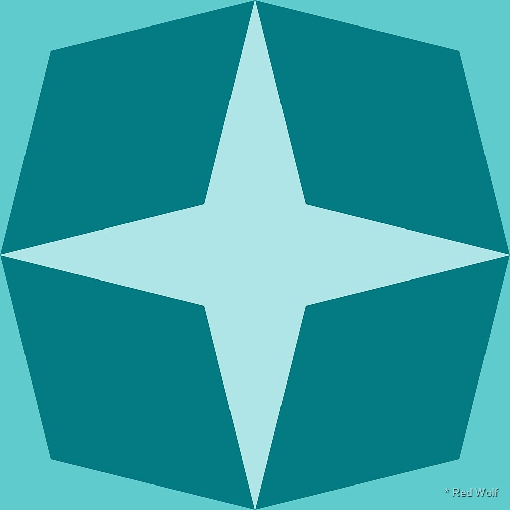 Geometric Pattern: Diamond Star: Ocean by * Red Wolf
