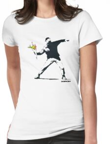 BANKSY - RAGE FLOWER THROWER Womens Fitted T-Shirt