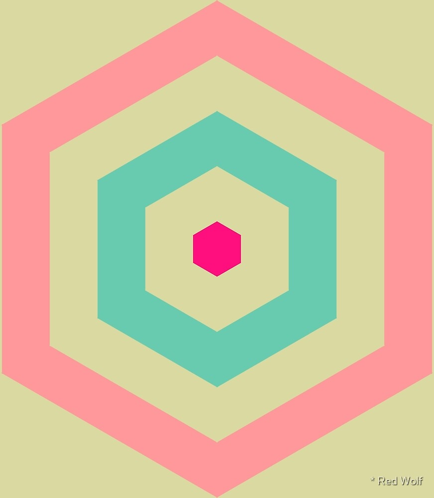 Geometric Pattern: Hexagon Hive: Pink/Blue by * Red Wolf