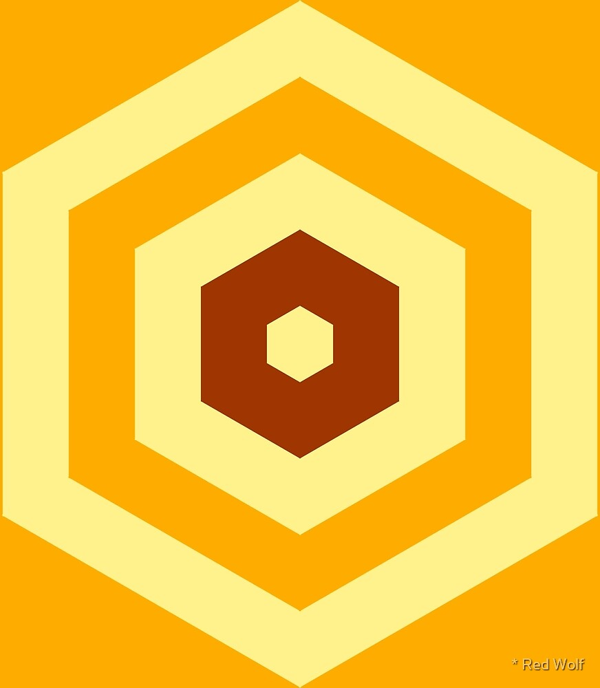 Geometric Pattern: Hexagon Hive: Orange/Brown by * Red Wolf