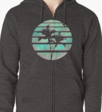 Vaporwave Palm Trees in the Sun - Blue Zipped Hoodie