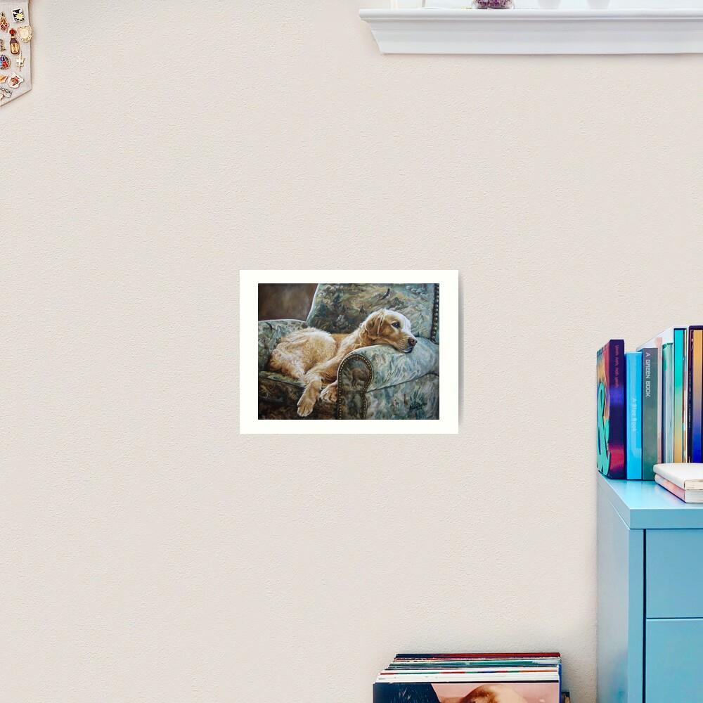 Golden Retriever in Chair Art Print