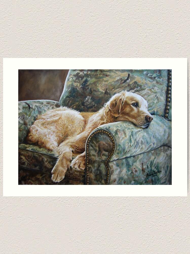 Alternate view of Golden Retriever in Chair Art Print