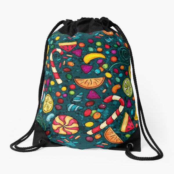 Multicolored candies, on a blue-green background Drawstring Bag
