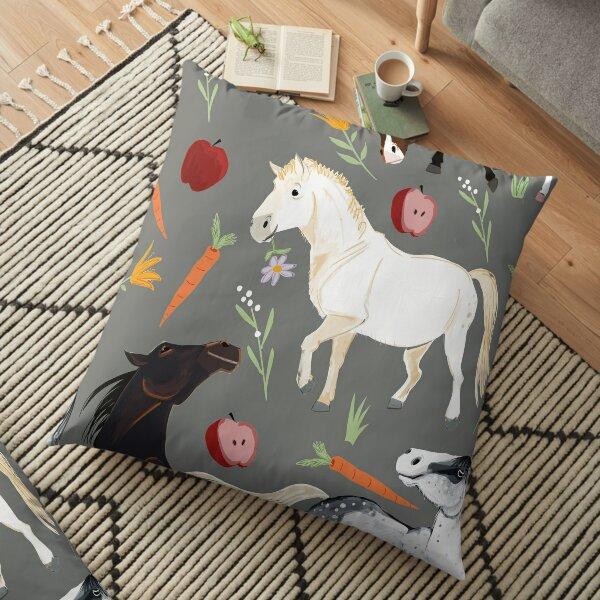 Horses pattern in grey Floor Pillow