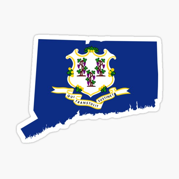 Flag Map of Connecticut  Sticker