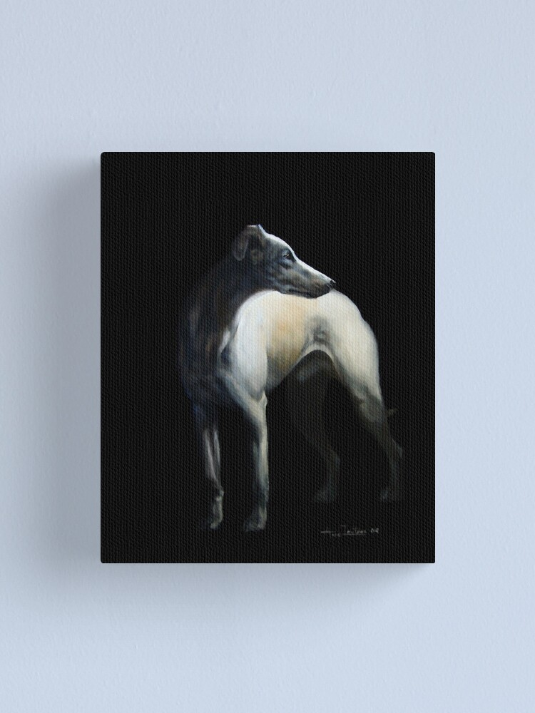 Alternate view of Whippet In Black Canvas Print