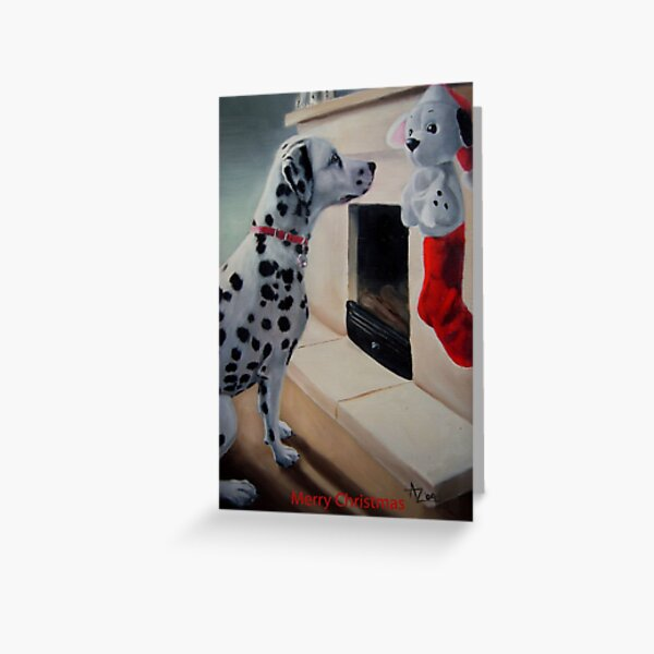 Christmas Is Coming! (Dalmatian Christmas card with greeting on front) Greeting Card